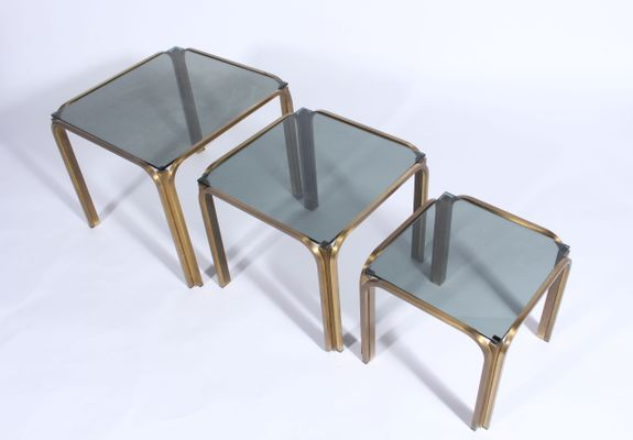 Vintage Gilt Metal Nesting Tables 3