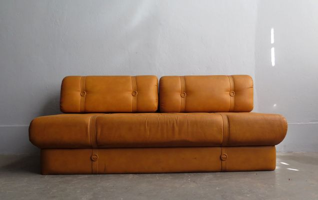 Vintage Faux Leather Sofa Bed 1