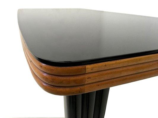 Tavolo da pranzo in mogano e legno ebanizzato con ripiano in vetro ...