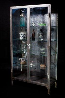 Vintage Polished Steel Medical Cabinet, 1920s 3