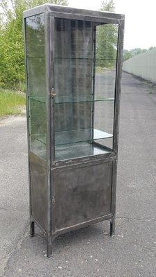 Great Vintage Polish Steel Medical Cabinet, 1920s 3