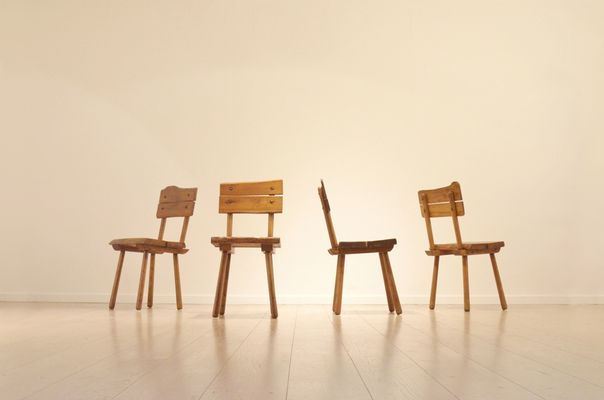 Mid Century French Brutalist Oak Dining Chairs Set Of 4 2