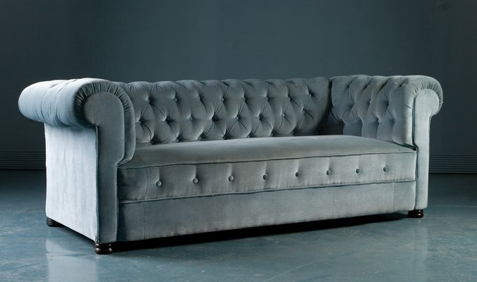Antique Chesterfield Style Sofa In Blue Velvet 1900s 1