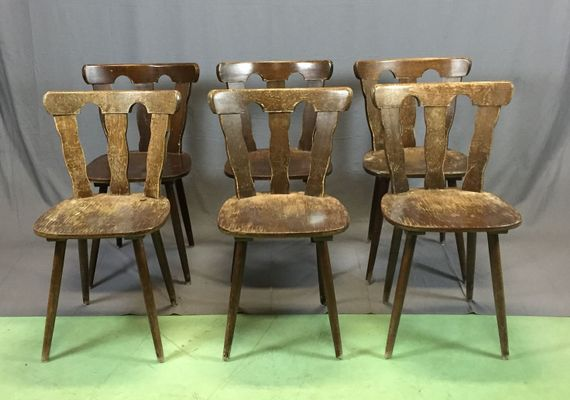 Vintage Beech Chairs, 1970s, Set Of 6 1