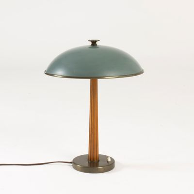 Metal mahogany table lamp from böhlmarks
