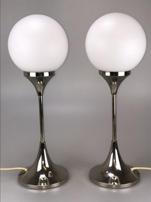 Space Age Chrome U0026 Opaline Glass Table Lamps From Bankamp, 1960s, ...