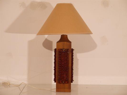 Grande lampe de bureau en teck et verre s en vente sur pamono