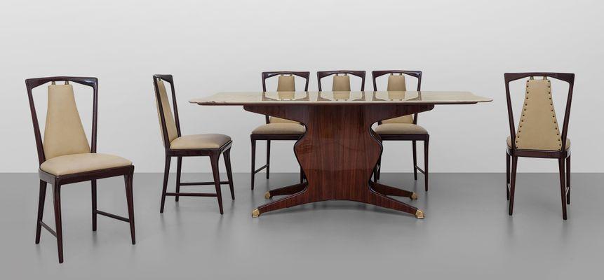 Tavolo da pranzo in legno con ripiano in marmo di Carrara di ...