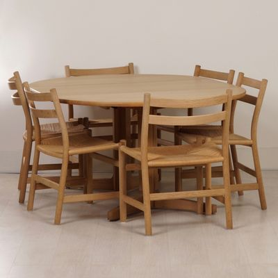 Blank Oak Dining Set With 8 Ch47 Chairs Table By Hans Wegner Møller