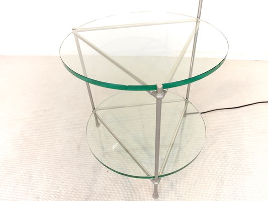 Round Chrome And Glass Side Table With Integrated Lamp By Peter Ghyzcy 9