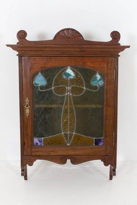 French Art Nouveau Walnut Wall Cabinet With Stained Glass Door, 1900s 1