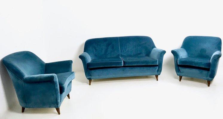 New Living Room Set. Italian Mid Blue Velvet Living Room Set  1950s 1 for sale at Pamono