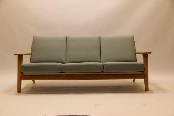 Exceptional Vintage GE290 3 Seater Sofa In Oak U0026 Wool By Hans J. Wegner For
