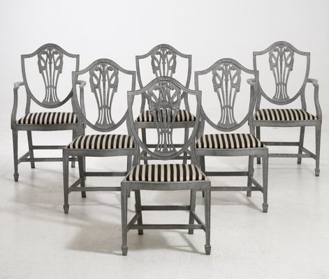 Antique Armchairs And Chairs Set With Fine Carvings 2