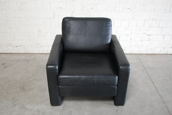Vintage Conseta Black Leather Armchairs From Cor, Set Of 2 3