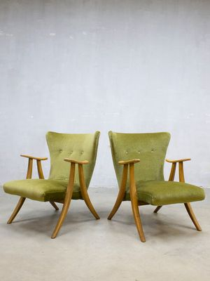 Danish Velvet Wingback Chair, 1950s 1
