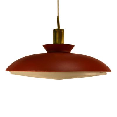 Danish Red Pendant Light 1960s 1
