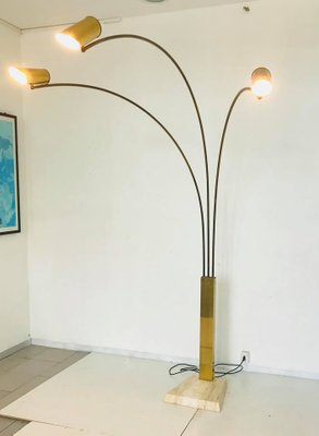 3 light floor lamp in brass with marble base 1960s for sale at pamono 3 light floor lamp in brass with marble base 1960s 2 aloadofball Image collections