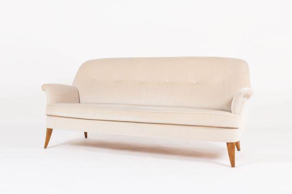 Swedish Sofa In Beige Mohair Velvet, 1950s 2