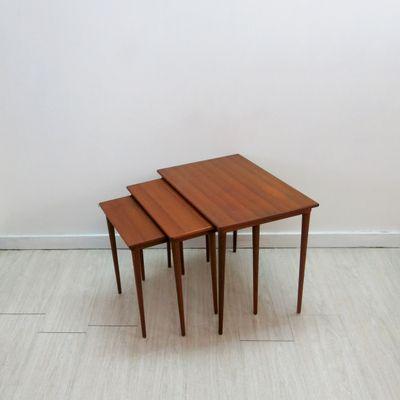 Vintage Danish Nesting Tables By Poul Hundevad, Set Of 3 2