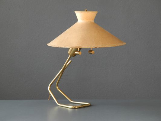 Large brass table lamp with vellum shade from vereinigte large brass table lamp with vellum shade from vereinigte werksttten 1950s 1 aloadofball Gallery