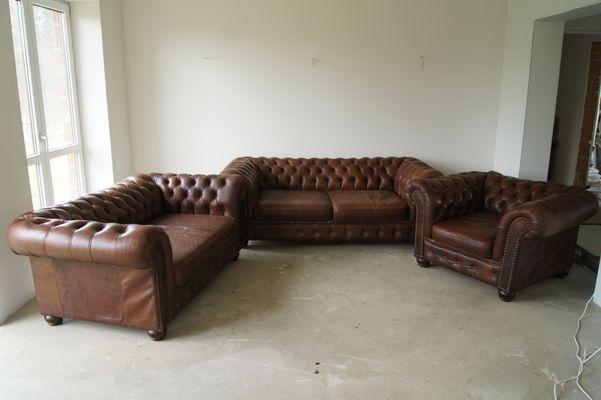 Chesterfield Leder Wohnzimmer Set, 1960er bei Pamono kaufen
