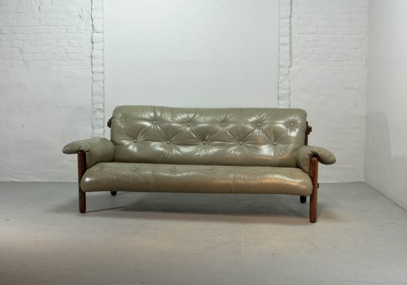 Brazilian Leather Jacarandá Sofa By Jean Gillon For Wood Art