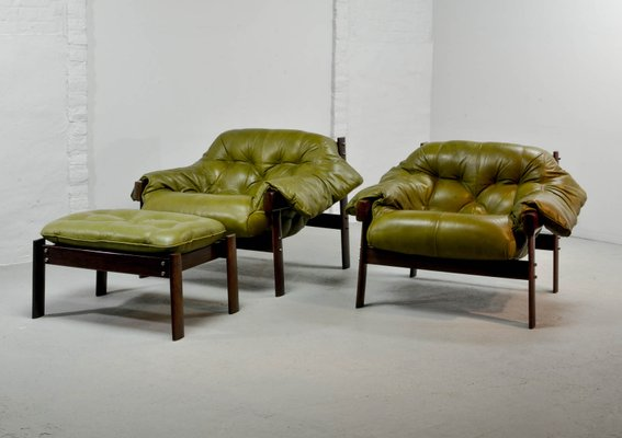 Olive Green Leather Lounge Chairs U0026 Ottoman By Percival Lafer, ...