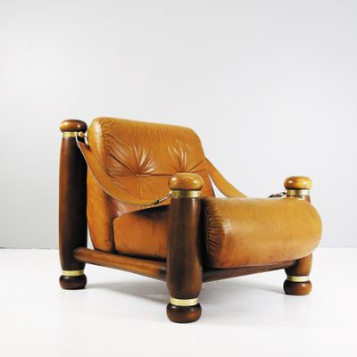 Large Leather Lounge Chair, 1970s 1