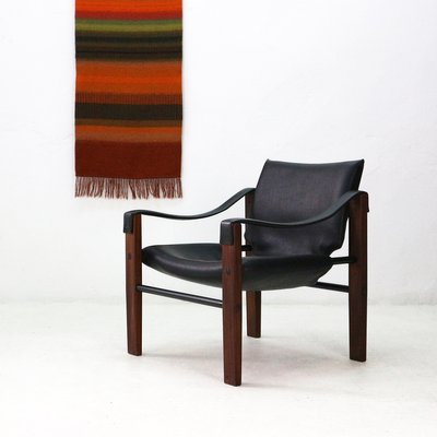 Mid Century Teak And Faux Leather Chelsea Safari Chair By Maurice Burke For  Arkana,