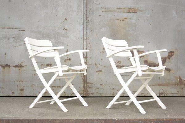 Sillas de jardín plegables vintage de madera lacada en blanco de ...