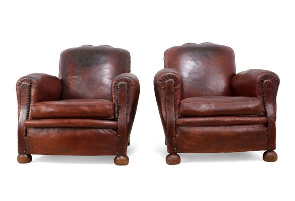 French Leather Club Chairs, 1940s, Set Of 2 3