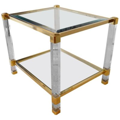 Mid Century French Plexiglas, Brass, And Glass Coffee Table, 1980s 1