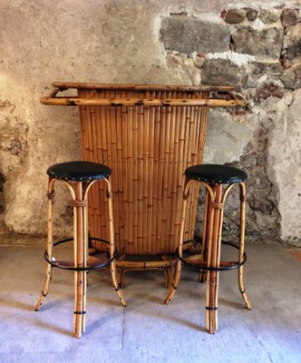 Vintage Bamboo Tiki Bar With 2 Stools, 1960s 1