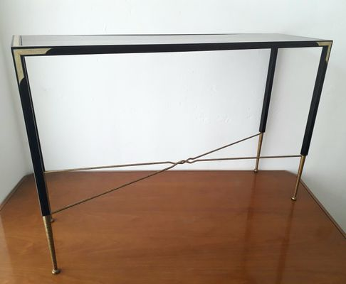 Metal And Smoked Glass Top Console Table, 1980s 2