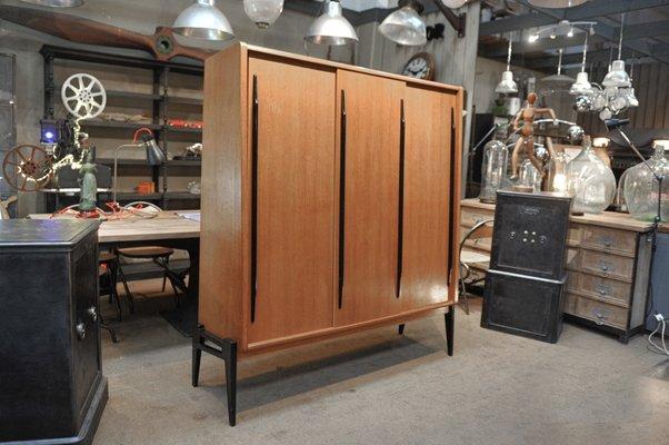 Oak Veneer Wardrobe With Sliding Doors 1950s For Sale At Pamono