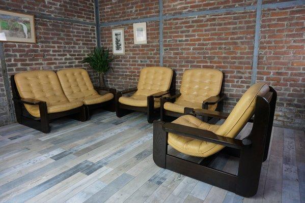 Vintage Wohnzimmer Set aus Massivem Holz & Leder bei Pamono kaufen