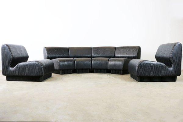 Mid Century Black Snakeskin Modular Sofa By Don Chadwick For Herman Miller  1970s 7