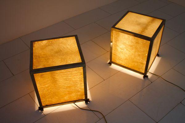 Mid century goatskin cube floor lamps by aldo tura 1950s set of 2 mid century goatskin cube floor lamps by aldo tura 1950s set of 2 aloadofball Images