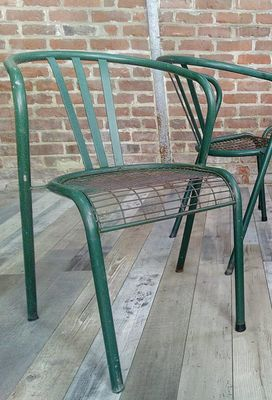 Stackable Tubular Metal Outdoor Chairs, 1950s, Set Of 4 1