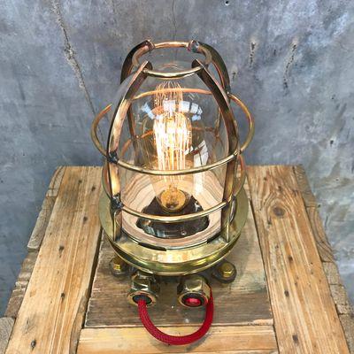 Industrial Steel U0026 Brass Desk Lamp With Glass Dome U0026 Edison Bulb, ...