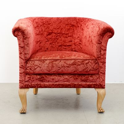 Red Velour Club Chair, 1940s 1