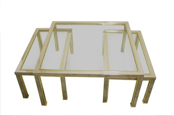 vintage hollywood regency brass & chrome coffee tables, set of 3 for