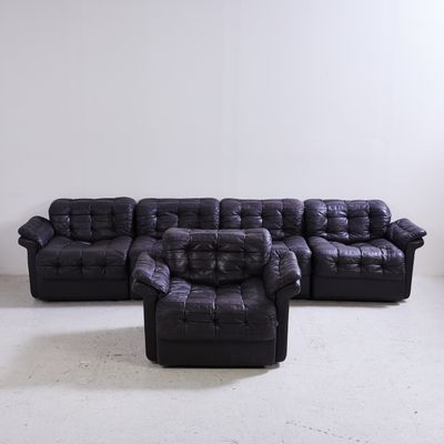 Model DS 11 Black Leather Modular Sofa From De Sede, 1970s 3