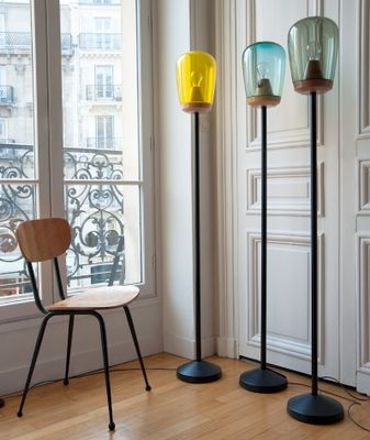 Lampione ii floor lamp in blown glass and wood by violaine d lampione ii floor lamp in blown glass and wood by violaine dharcourt aloadofball Gallery