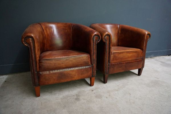 Vintage Dutch Cognac Leather Club Chairs, Set of 2 2 - Vintage Dutch Cognac Leather Club Chairs, Set Of 2 For Sale At Pamono