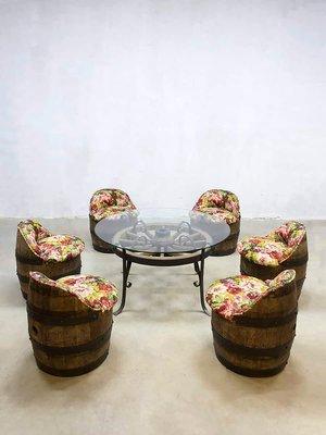 Juego de jardín de mesa y sillas de barril vintage en venta en Pamono