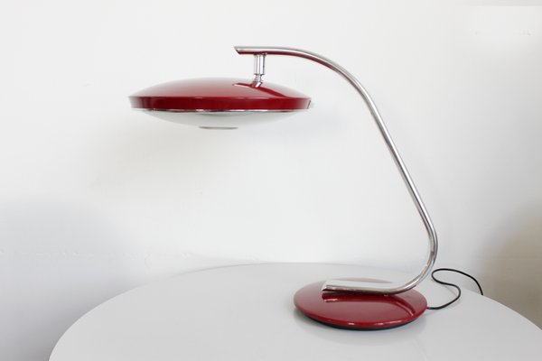 520 Dark Red Table Lamp From Fase 1970s 1