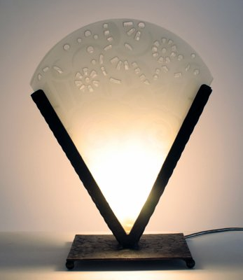 Art Deco Wrought Iron And Glass Table Lamp, 1930s 3