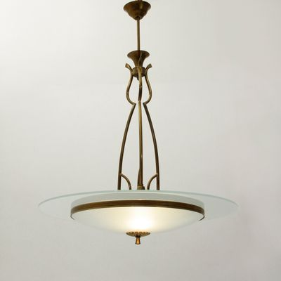 Italian brass and glass pendant lamp 1940s for sale at pamono italian brass and glass pendant lamp 1940s 1 audiocablefo